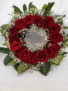 30cm Wreath Premium Red Roses with Foliage