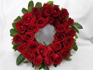 30cm Wreath Premium Double Red Roses with Foliage