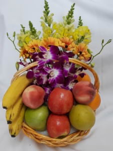 Fruits and Flowers Arrangement in a Basket
