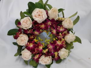 30cm Wreath Premium Roses and Singapore Orchids