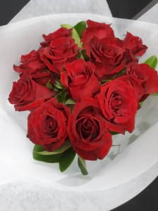 12 Red Rose Round Bouquet with foliage