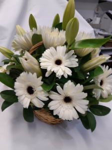 Simply White Arrangement in Basket