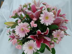 My Girl (assorted pink flowers in a basket)