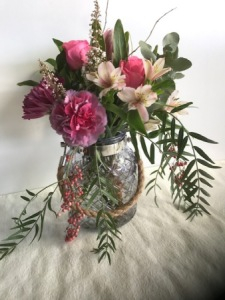 Pretty Pink Arrangement in a Vase