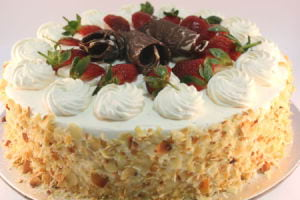 Continental with Strawberries with a Bouquet of Flowers